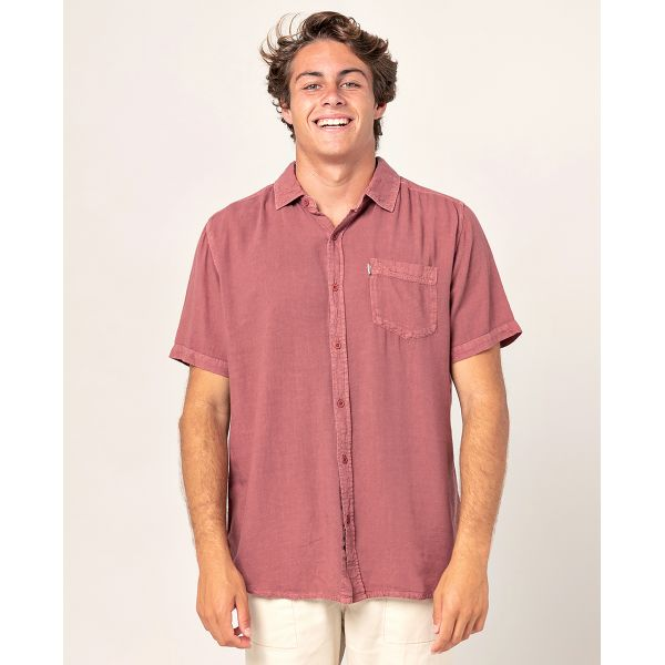 Rip curl new ventura washed red tshirt mc homme