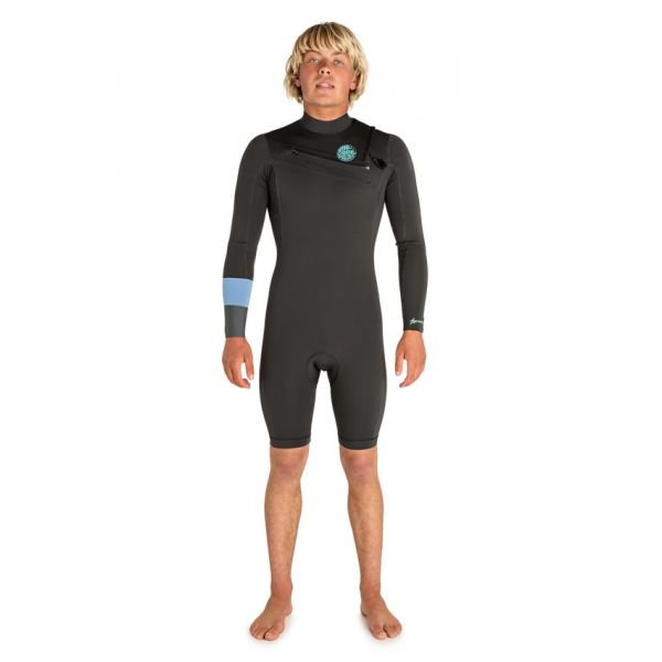Rip-Curl Aggro 2/2 front zip Teal Combinaison shorty 2019